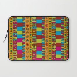 Abstract hand drawn Ethno design  in vivid colours. Laptop Sleeve