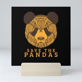 Panda Saying Save The Pandas Mini Art Print