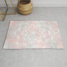 Mandala, Yoga, Love, Coral and Gray, Wall Art Boho Rug