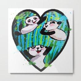 Pandas Love Metal Print