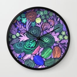 Watercolor . French cake in the colors . Wall Clock