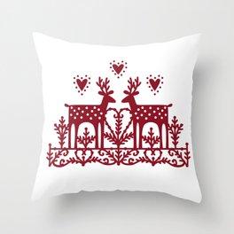 Scandinavian Reindeer Papercut Throw Pillow