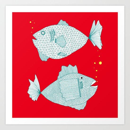 red fish square Art Print