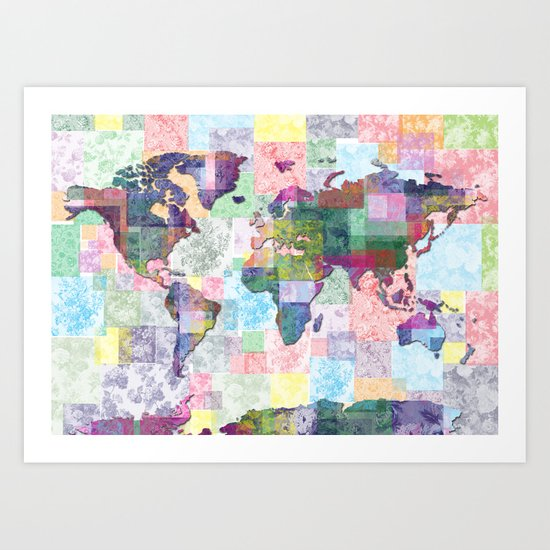 world map floral collage Art Print