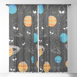 Ufo, planets and ships Sheer Curtain