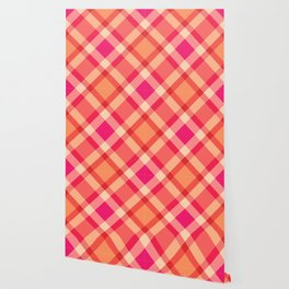 Large Modern Plaid, Orange, Coral and Fuchsia Pink Wallpaper