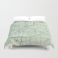 houston Duvet Covers featuring Houston Map Blue Vintage by City Art Posters