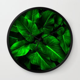 Arum Lilly Leaves Wall Clock