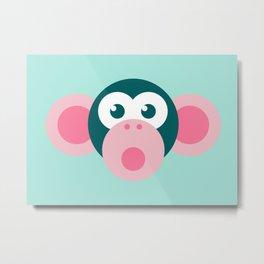 """Oops!"" Stylized Monkey - Zoo series Metal Print"