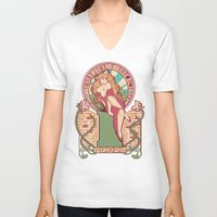 nouveau V-neck T-shirts featuring Peach Nouveau by Megan Lara