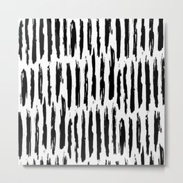 Vertical Dash Black and White Paint Stripes Metal Print