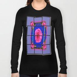 Pink Roses on Royal Blue Abstract Long Sleeve T-shirt