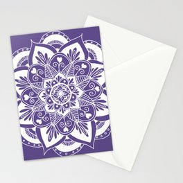 Ultraviolet Flower Mandala Stationery Cards