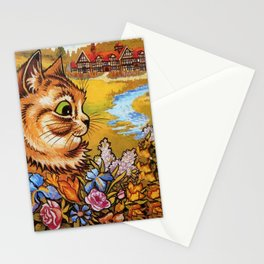 Country Cottage Cat - Louis Wain Cats Stationery Cards