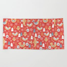 Fairy forest, deer, owls, foxes. Decorative pattern in Scandinavian style on a red background. Folk Beach Towel