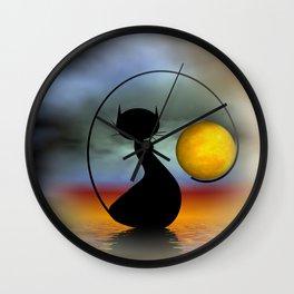 mooncat's evening Wall Clock