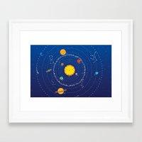 solar system Framed Art Prints featuring Solar System by Lalu