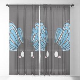 Blue Butterfly Block Sheer Curtain