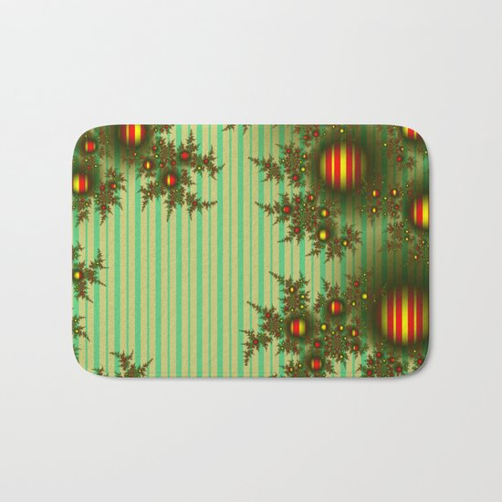 Vintage Christmas fractal Bath Mat