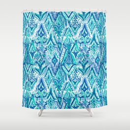 AQUA FRINGE TRIBAL Ikat Watercolor Shower Curtain