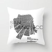 san francisco map Throw Pillows featuring San Francisco Map by Shirt Urbanization