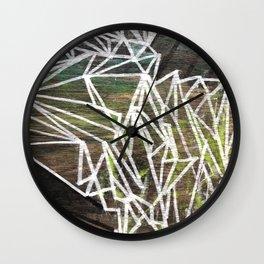 Geometric Lines on Wood Wall Clock