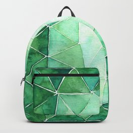 Geometric triangle pattern green palette Backpack