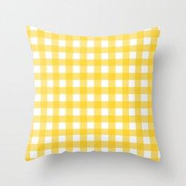 White & Yellow Gingham Pattern Throw Pillow