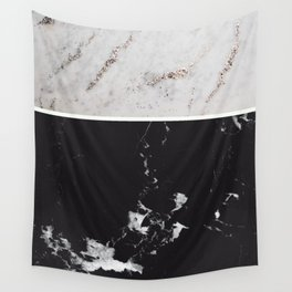 White Glitter Marble & Black Marble #1 #decor #art #society6 Wall Tapestry