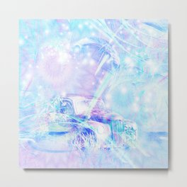 Old car in pink and blue space Metal Print