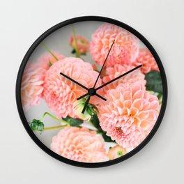 Coral Dahlias 02 Wall Clock