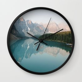 Pastel Sunrise over Moraine Lake Wall Clock