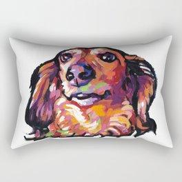 Dachshund Fun Dog Portait bright colorful Pop Art Painting by LEA Rectangular Pillow