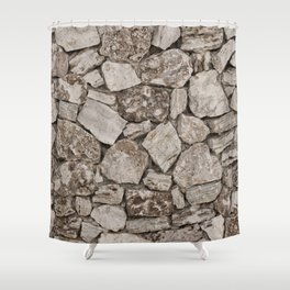Old Rustic Stone Wall Shower Curtain