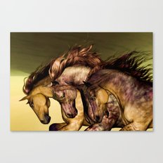 HORSES-Gunmetal Canvas Print