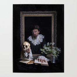 Old man with skull Poster