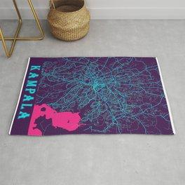 Kampala Neon City Map, Kampala Minimalist City Map Art Print Rug