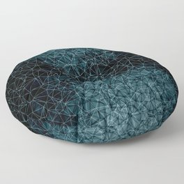 Polygonal blue and black Floor Pillow