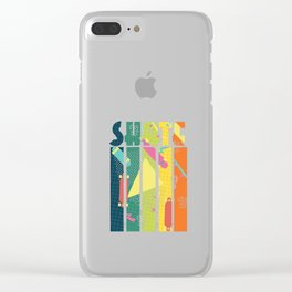 Skateboarder Retro Skater Vintage Geometric Pattern Clear iPhone Case