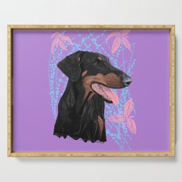 Happy doberman dog - Lila Serving Tray