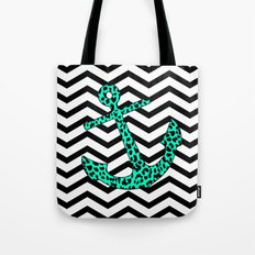 Mint Leopard Chevron Anchor Tote Bag
