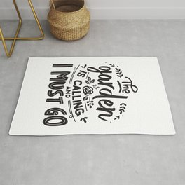 The garden is calling and I must go - Garden hand drawn quotes illustration. Funny humor. Life sayings. Rug