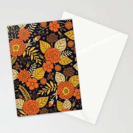 Retro Orange, Yellow, Brown, & Navy Floral Pattern Stationery Cards
