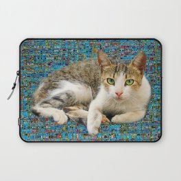 Cute cat on abstract background Laptop Sleeve
