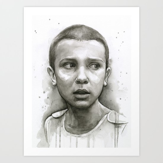 Stranger Things Eleven Portrait Upside Down Art Print