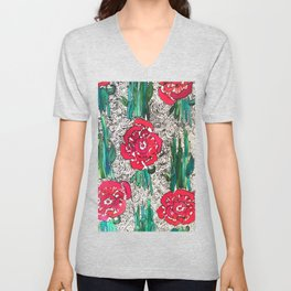 Scarlet Begonias  Unisex V-Neck