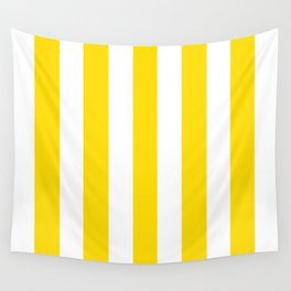 Sprint Yellow - solid color - white vertical lines pattern Wall Tapestry