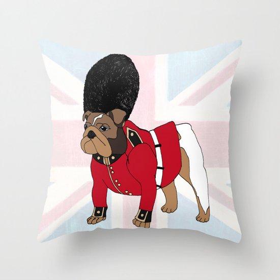 British Bulldog Guard Throw Pillow