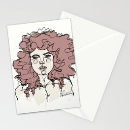 Curly Watercolor Girl Stationery Cards