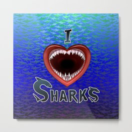 I Love Sharks Jaws Heart. Metal Print